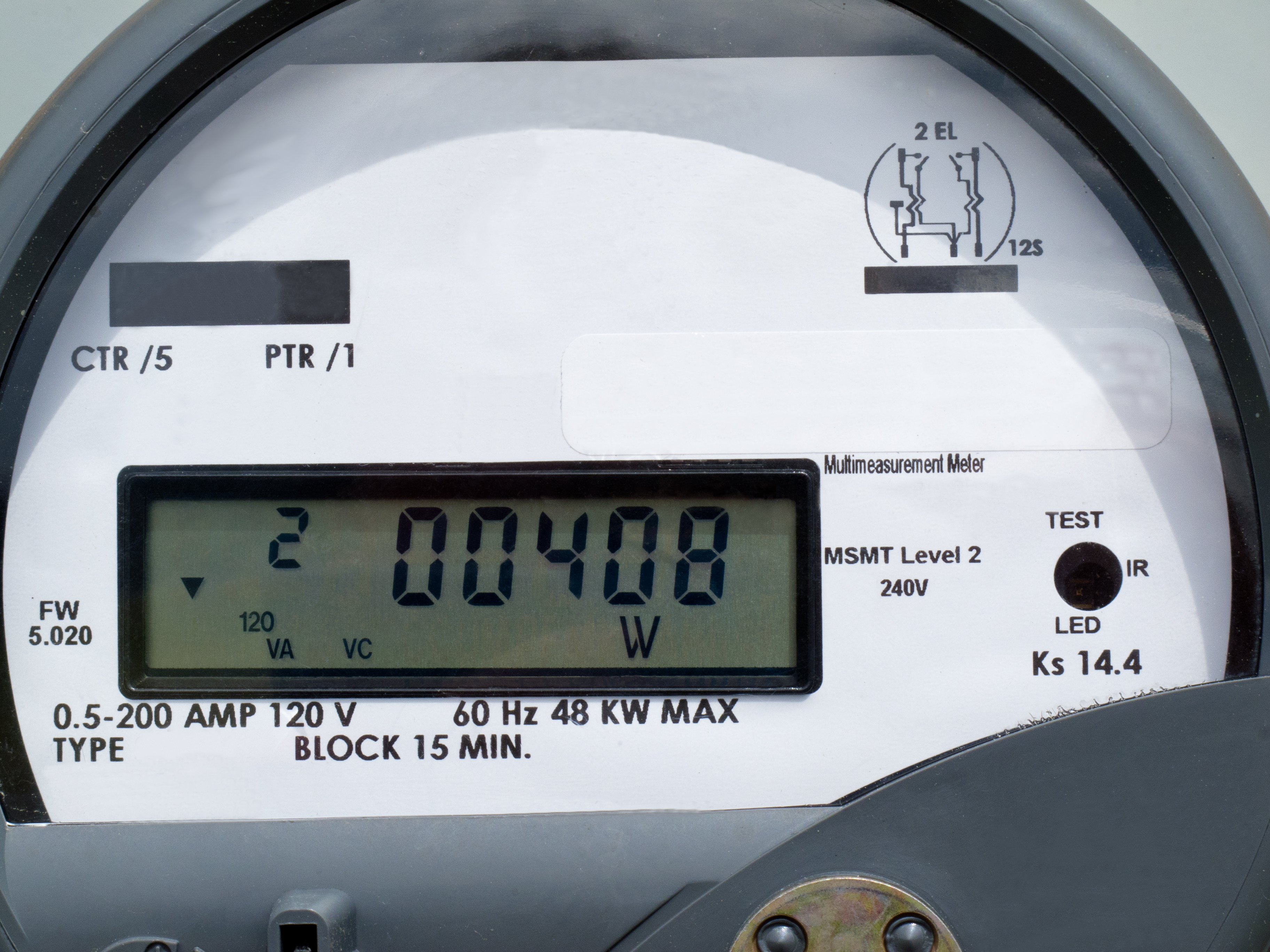 diagram of a digital meter reading