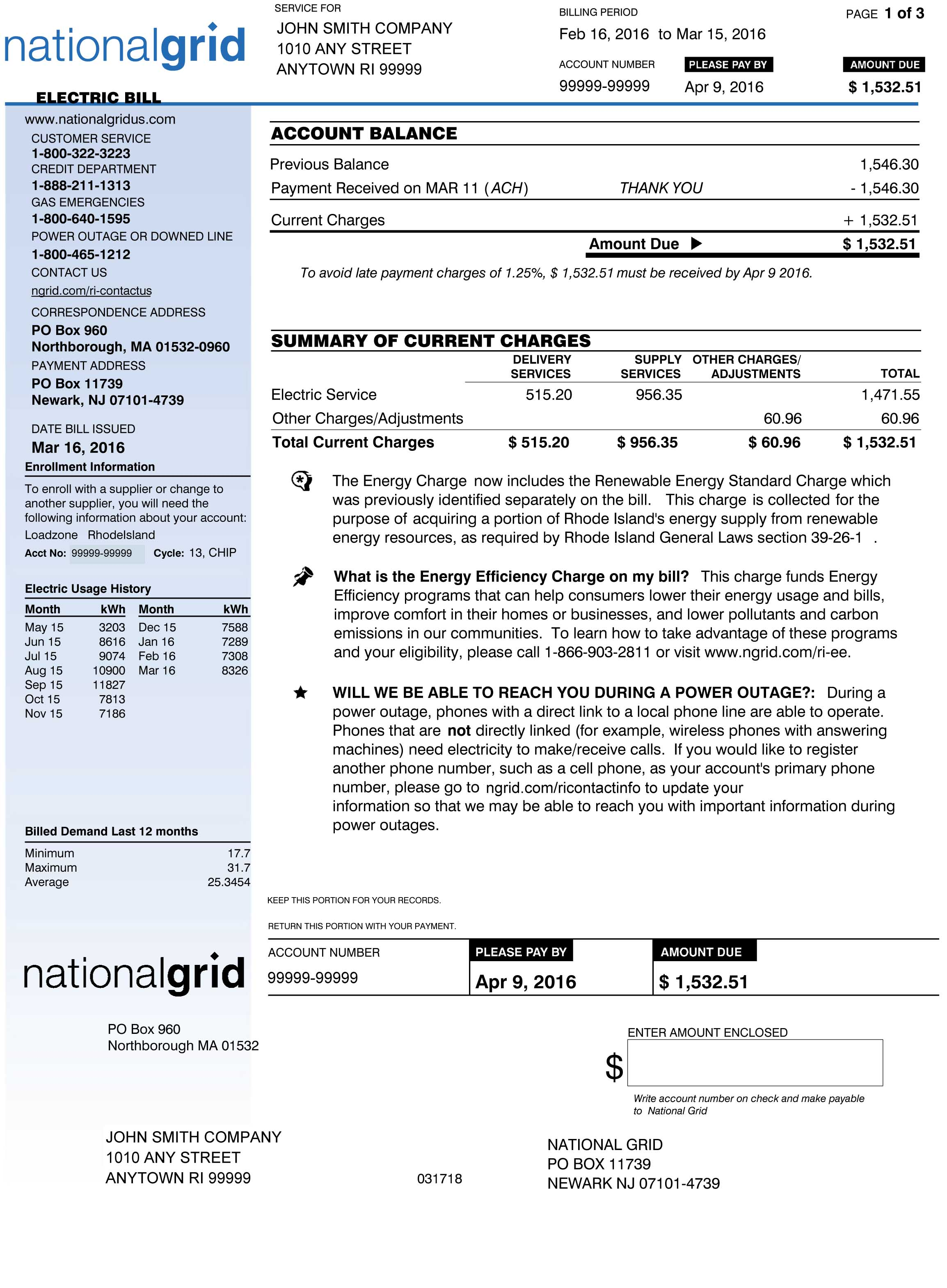 RI Sample Electric Bill Page 1