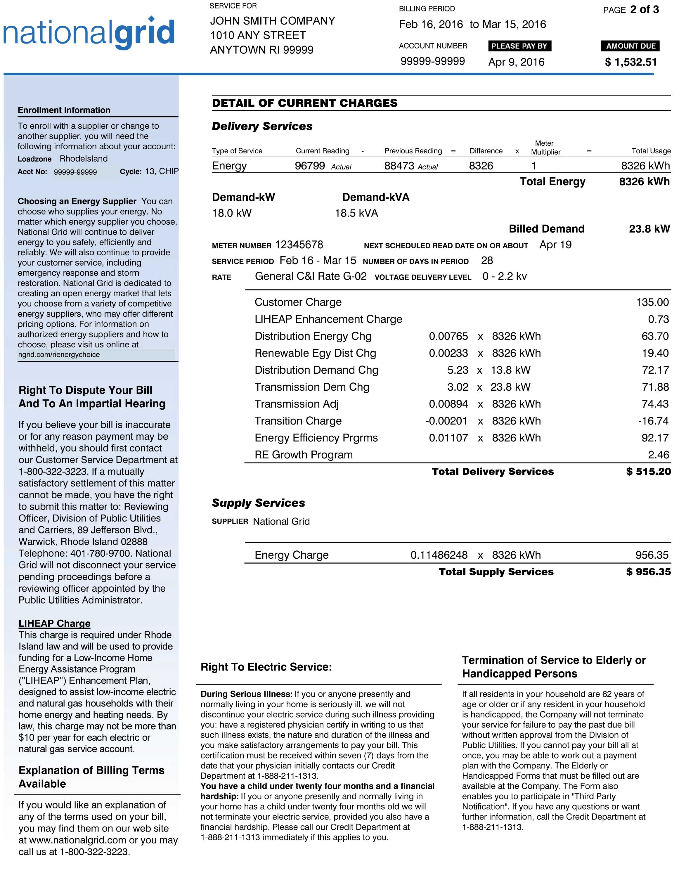 RI Sample Electric Bill Page 2