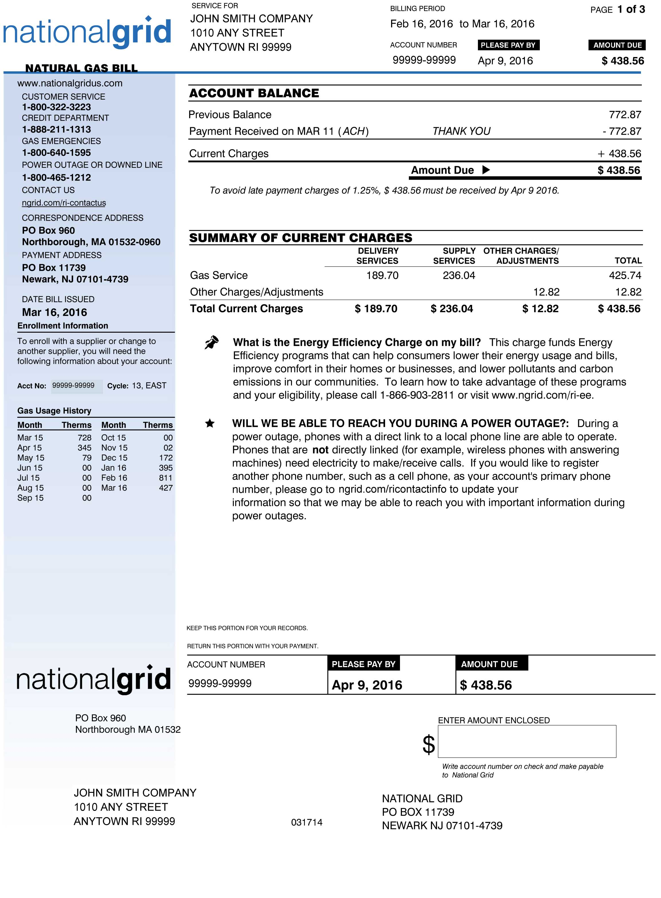 RI Sample Gas Bill Page 1